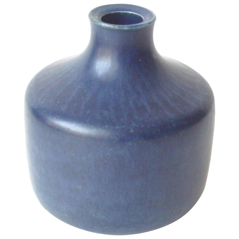Saxbo, Cobalt Blue Ceramic, Pottery Vase by Edith Sonne, Signed, Marked 1