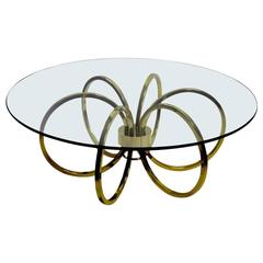 Brass and Glass Coffee Table After Milo Baughman