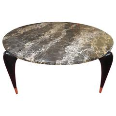 Gio Ponti Attributed Italian Mid-Century Modern Black Lacquered Marble Coffee