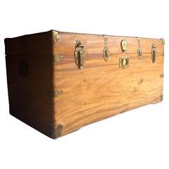 Antique Campaign Chest Trunk Maple Blanket Box