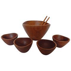 Seven-Piece Teak Salad Bowl Set
