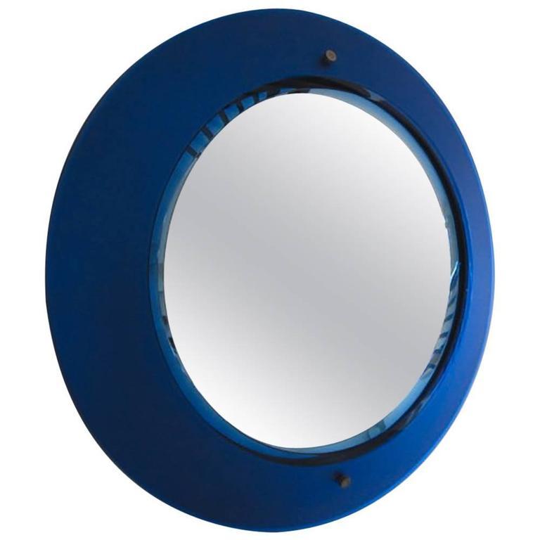 Italian Rare Blue Mirror by Max Ingrand for Fontana Arte, Milano, 1950s
