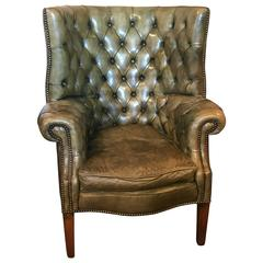 Mid-20th Century English Leather Barrel Wing Chair