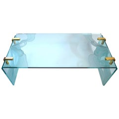 Thick Etched Plate Glass Coffee Table