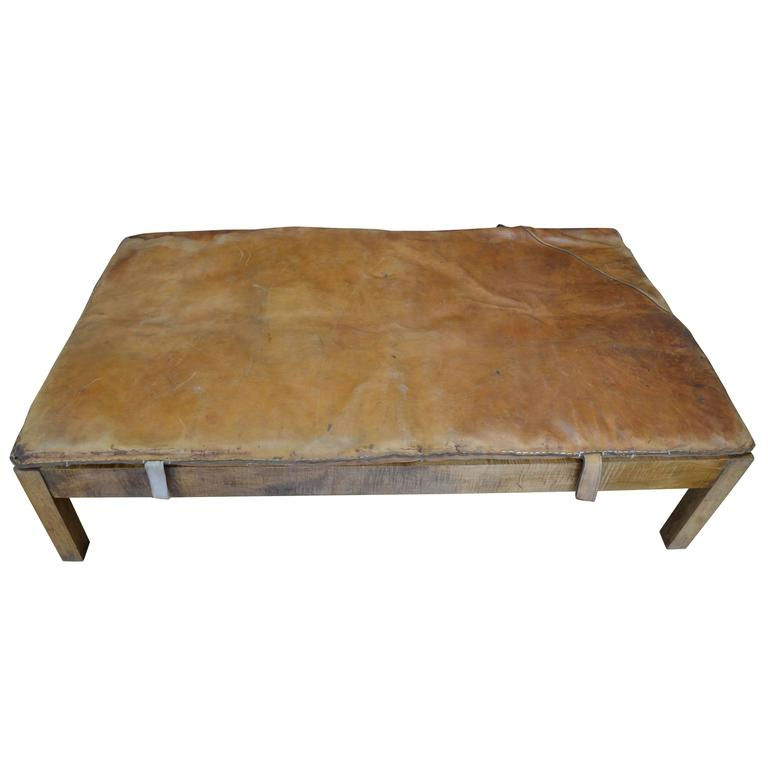 Coffee Table Ottoman With Vintage Gymnasium Leather Mat Atop Crafted Wood Frame At 1stdibs