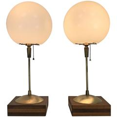 """Modern Bauhaus Style Table Lamps, Machined Brass, White 10"""" Spheres, Wood"""