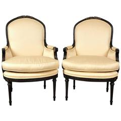 Pair of Custom Lewis Mittman Upholstered Bergeres