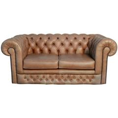 Classic English Leather Chesterfield Tufted Sofa