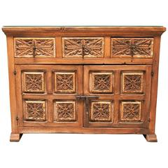 Spanish Colonial Style Carved Wood Cabinet