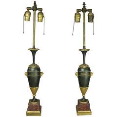 Pair of Antique Classical Parcel-Gilt Bronze Marble Lamp Bases, circa 1900