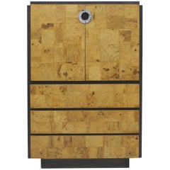 Burl Wood and Charcoal Grey Tall Cabinet or Drybar