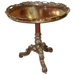 Antique Irish Carved Chippendale Style Mahogany Tilt-Top Tea Table