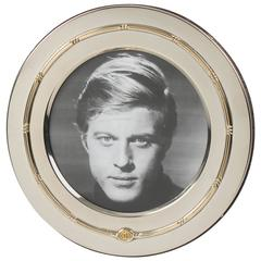 Italian Gucci Silver Plate and Gold Plate Large Round Picture Photo Frame