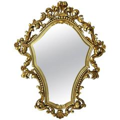 Antique French, Louis XIV Style Giltwood Shield Shaped Wall Mirror, Spain