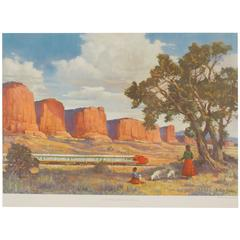 Sante Fe Train Travel Poster by Adolph Heinze