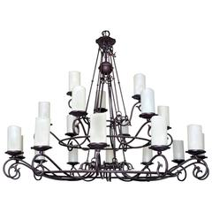 Colossal and Wrought Iron Chandelier in Spanish Colonial Style