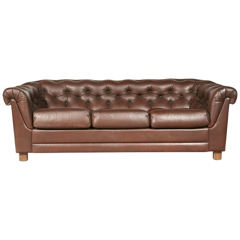 Brown Leather Chesterfield Sofa For Sale