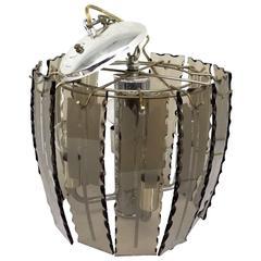 Small Fontana Arte Smoked Glass Chandelier