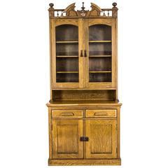 B623 Antique Tiger Oak Eastlake Hutch, Buffet, Glass Fronted Cabinet