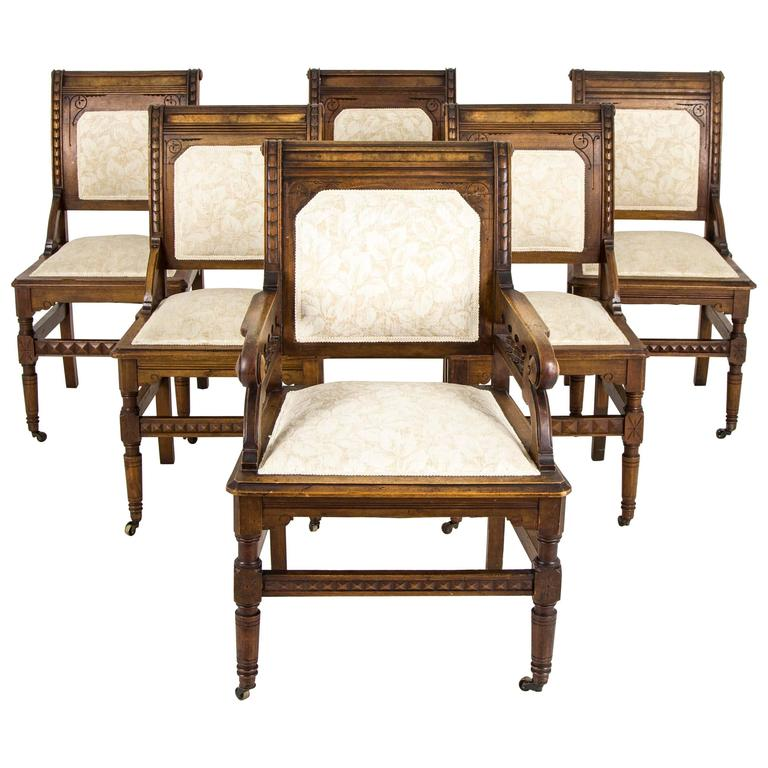Set of Six Antique Carved Walnut Eastlake Dining Chairs For Sale - Set Of Six Antique Carved Walnut Eastlake Dining Chairs At 1stdibs