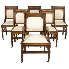 Set of Six Antique Carved Walnut Eastlake Dining Chairs