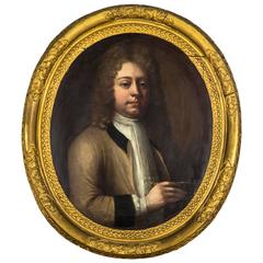 18th Century Portrait of a Young Gentleman in Oval Frame, English School