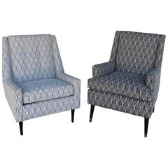 Pair Mid-Century Modern His and Hers Easy Chairs in New Black and White Jacquard