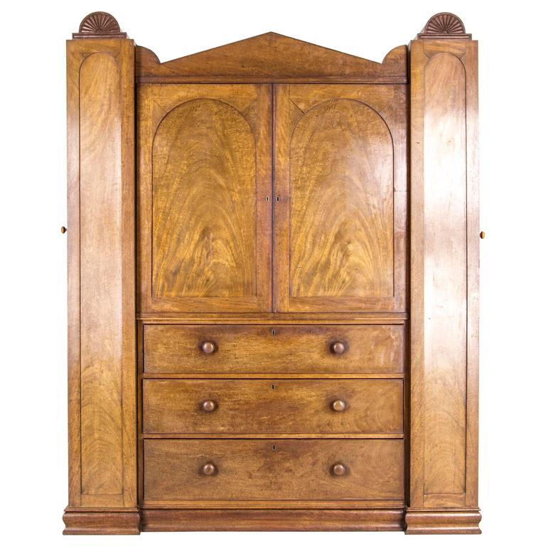 Antique Linen Closet : Antique scottish regency armoire wardrobe linen press