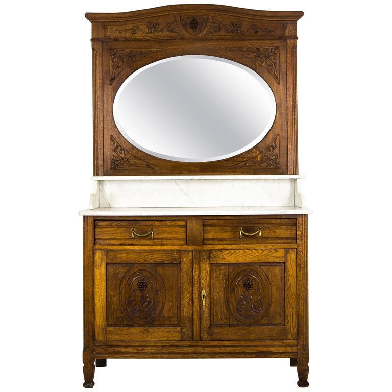 Antique French Oak Marble-Top Vanity, Dresser with Large Bevelled Mirror 1 - Antique French Oak Marble-Top Vanity, Dresser With Large Bevelled