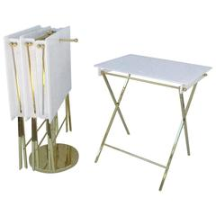 Set of Four Acrylic and Brass Folding Tray Tables by Charles Hollis Jones