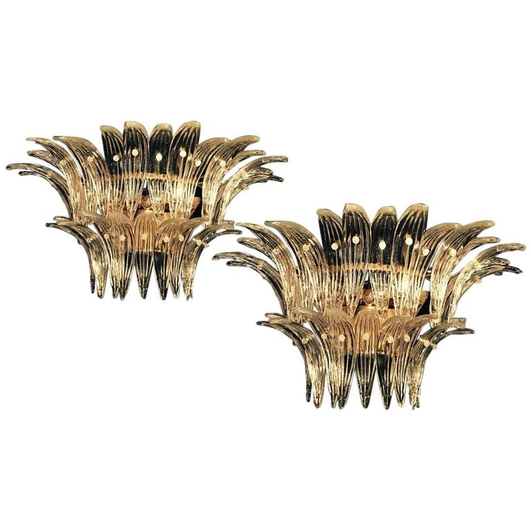 """Greats Pair of Original Sconces of the Famous """"Palmette"""" by Barovier & Toso,1960"""