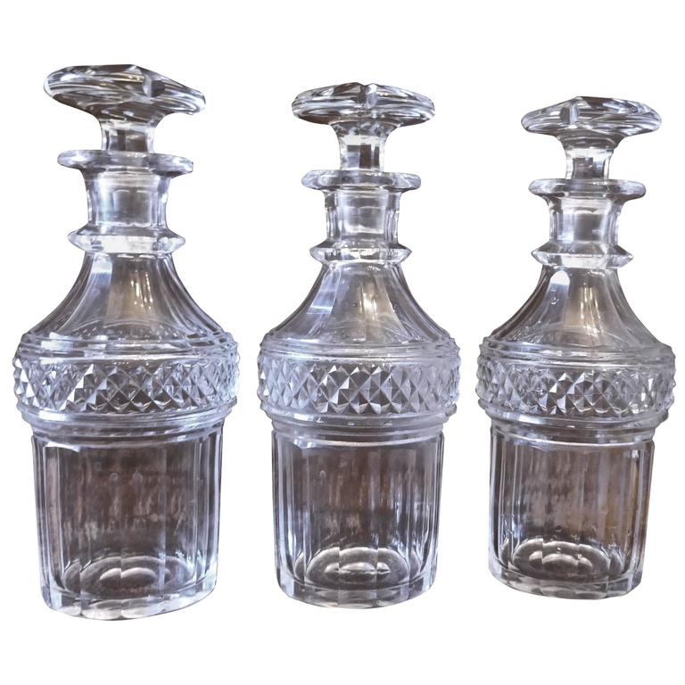 Set of Three Victorian Cut-Glass Decanters