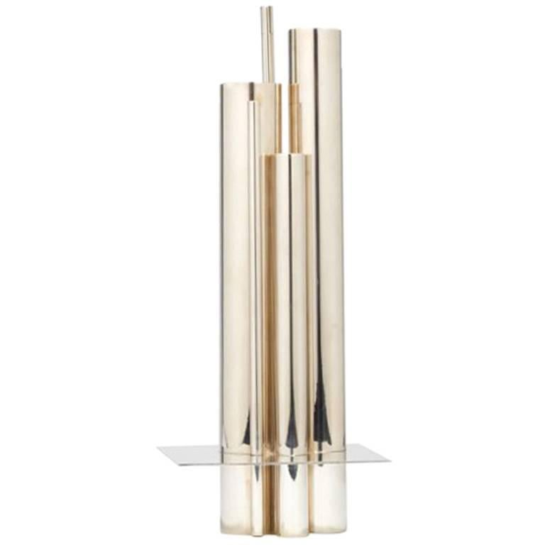 Graduated Tube Silver Plate Vase by Jacques Sitoleux for Christofle