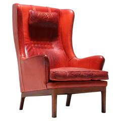 Mid-Century Highback Leather Armchair by Arne Norell