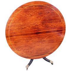 Antique Regency Rosewood Circular Breakfast Centre Table
