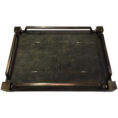 Shagreen Service Tray with Brass Inlay