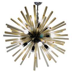 "Mid-Century ""Sputnik"" Chandelier, Golden Glass Rods. Alberto Donà Furnace"