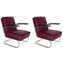 Pair of 1930s Bauhaus Mauser Werke Steel Tube Club Chairs