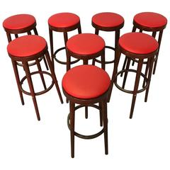 Set of 8 Stools by Baumann, Original and Traditional Parisian Bistrot, France
