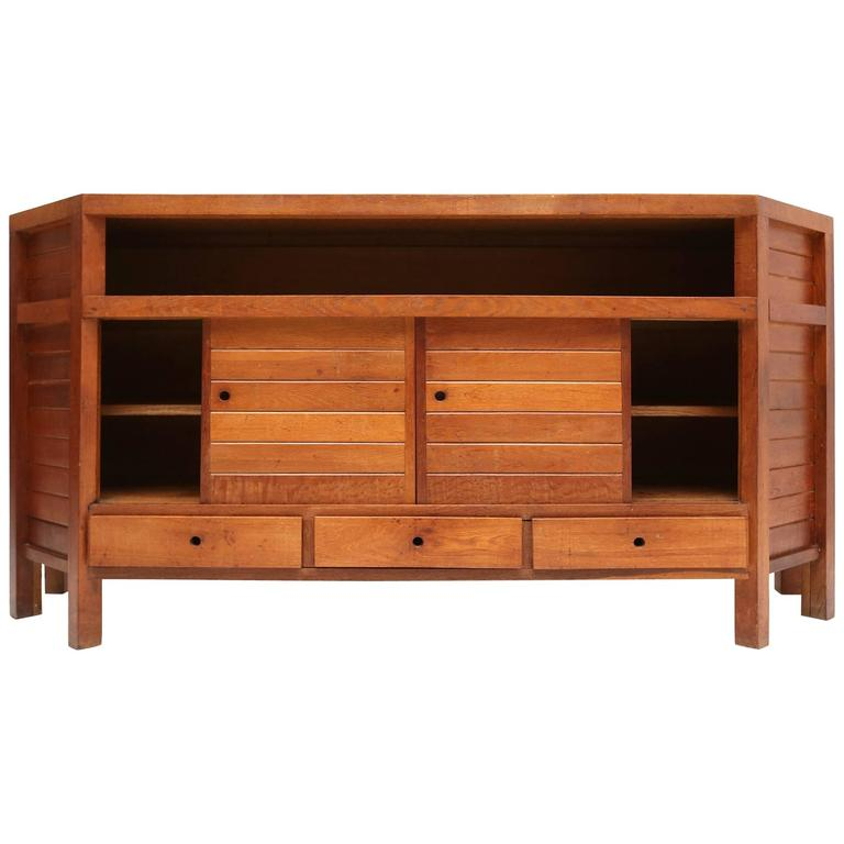 Modernist Stained Oak Cabinet