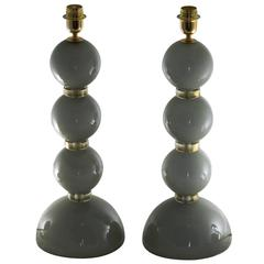 Alberto Donà Pair of Table Lamps, Deco Spheres, Acciaio over Lattimo