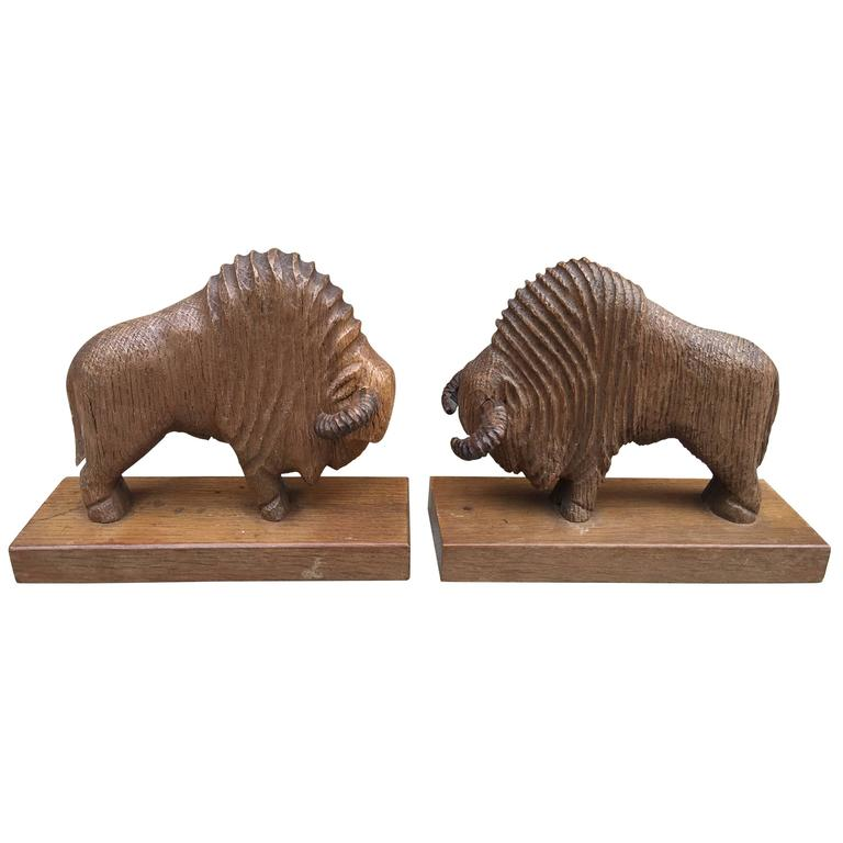 Pair of Art Deco Book End in Sculpted Wood Representing Bisons For Sale