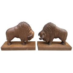 Pair of Art Deco Book End in Sculpted Wood Representing Bisons