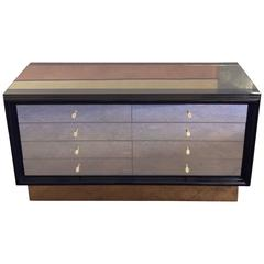 Late 20th Century Black Lacquered Wood, Bronzed Mirror Chest of Drawers by Gucci