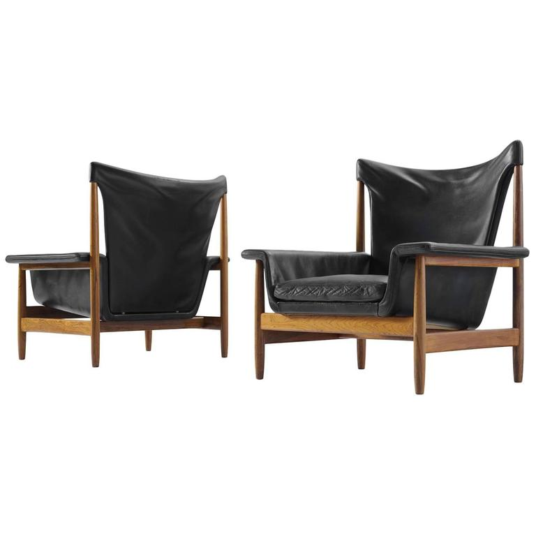 Scandinavian Lounge Chairs with Original Leather and Rosewood