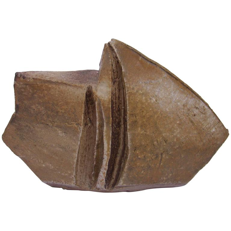 Brutalist Ceramic Sculpture by Eric Astoul, 1980-1990 For Sale