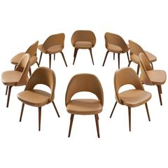 Eero Saarinen Chairs for Knoll in Original Beech and Faux Leather