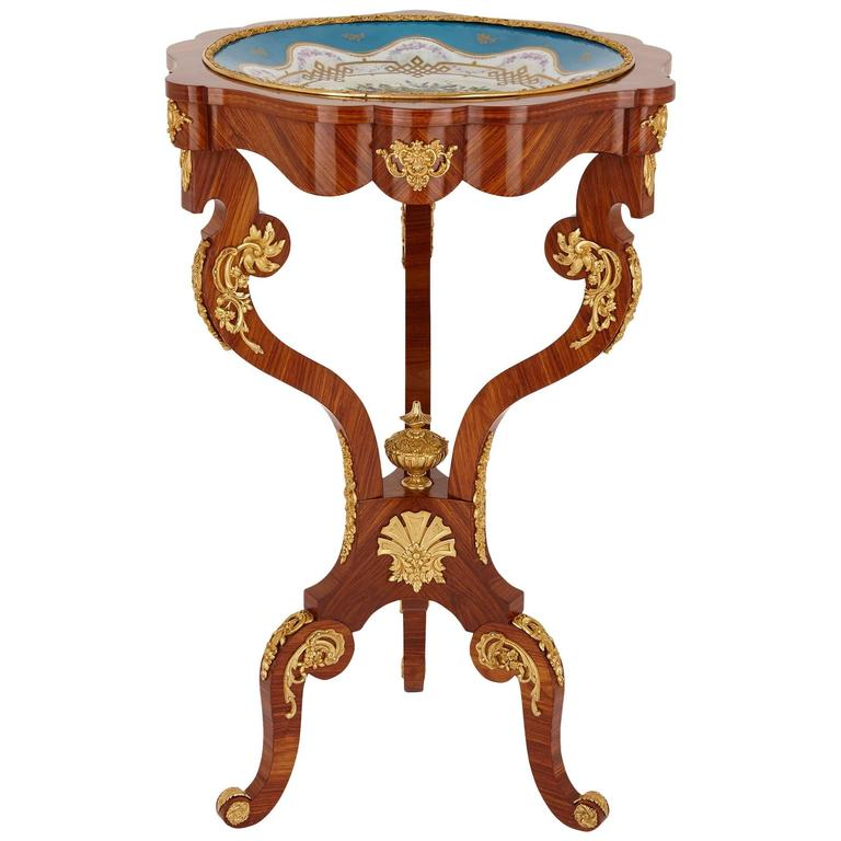 Ormolu and Sèvres Porcelain Antique Kingwood Gueridon Table