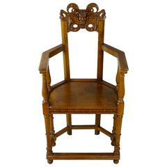 Late 19th Century, Flemish Provincially-Carved Beech Wood Hall Chair