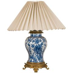 19th Century Delft Vase Lamp Mounted on Gilt Bronze Base and Top